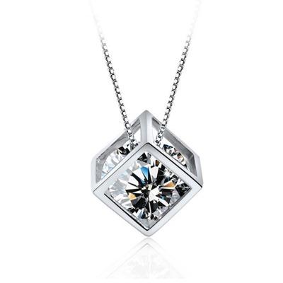 六隆珠宝正品S925纯银幸运魔方吊坠盒子项链 时尚简约银饰品礼物