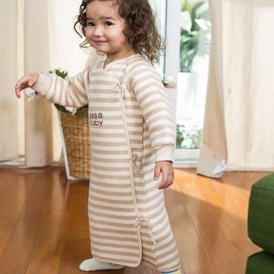 婴儿睡袋 宝宝彩棉睡袍儿童睡袋睡袍偏襟系带睡袋睡袍0-1-3-5岁