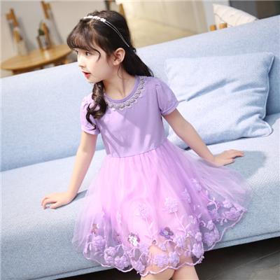 女童连衣裙童装201夏装新款短袖蕾丝儿童公主裙女宝宝蓬蓬纱裙子