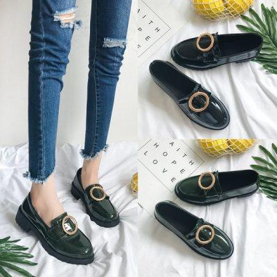 皮鞋款韩版单鞋韩版豆豆鞋女方头粗跟学生奶奶鞋平底低跟的鞋季女