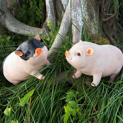 花园林客厅可爱家居庭院装饰生日礼物仿真树脂小猪摆件工艺品创意