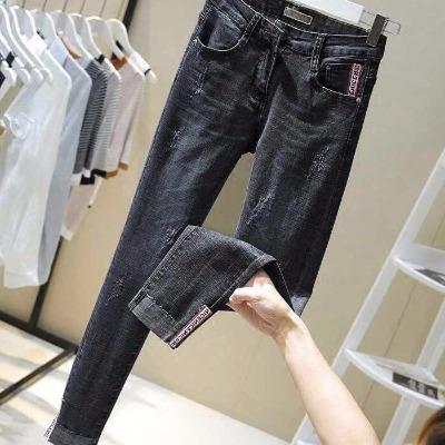 高腰修身显瘦牛仔裤女韩版高腰翻边弹力紧身小脚九分牛仔裤女黑色