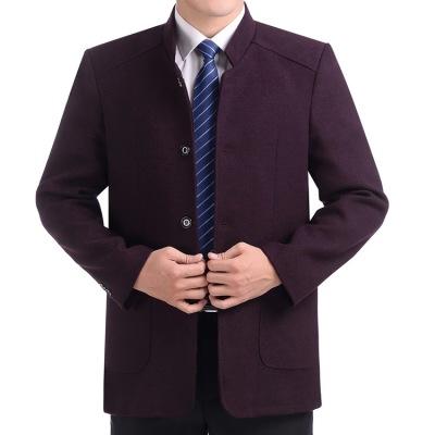 中年男士夹克春秋厚款毛呢外套中老年人秋装男装爸爸装秋季衣服男